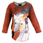 Laurel Burch 3/4 Sleeve Tee Shirt Moroccan Mares LBT054