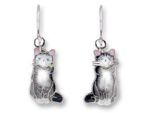 """Cat Sterling Silver Drop Earrings """"Gray & White"""" - 196501"""