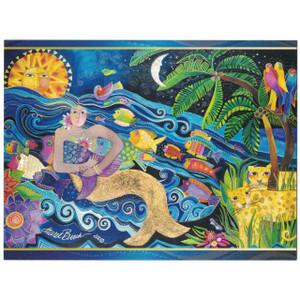 Laurel Burch Glitter Sparkle Birthday Card - Mermaid Mural - Front