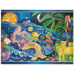 Laurel Burch Glitter Sparkle Birthday Card - Mermaid Mural - Front