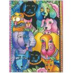 Laurel Burch Friendship Greeting Card - Canine Dog Fiesta - Front