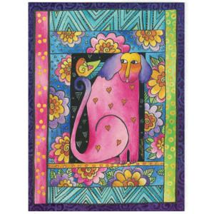 Laurel Burch Birthday Glitter Card - Pink Puppy Dog - Front