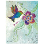Laurel Burch Birthday Greeting Glitter Card - Hummingbird Humming Along - 17493