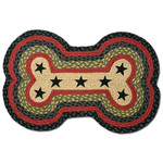 Black Stars with Red Dog Bone Rug