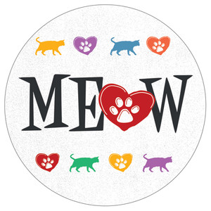 Meow Cat Lover Stoneware Round Car Coasters - CB72917