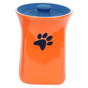 Orange Ceramic Treat Jar with Silicone Lid
