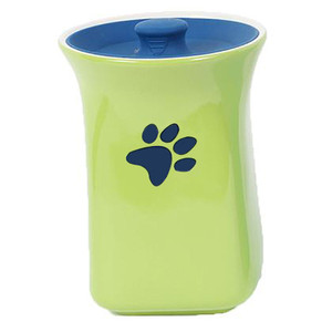 Green Ceramic Treat Jar with Silicone Lid 40247C