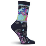 Laurel Burch Pup and Puppy Black Crew Socks