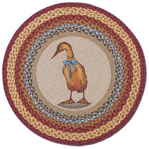 """Duck Round Jute Dog Rug 27"""" RP-450"""