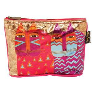 Laurel Burch Foil Cosmetic Bag Colorful Wild Cats