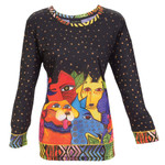 Laurel Burch 3/4 Sleeve Tee Shirt Canine Clan Dogs