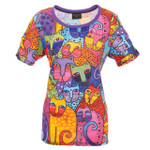 Laurel Burch Tee Shirt Whiskered Family Cats LBT059