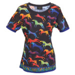 Laurel Burch Tee Shirt Rainbow Colorful Horses LBT060