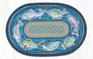 """Fish Swimming Oval Hand Printed Braided Patch Floor Earth Rug 20""""x30"""" - OP-362-FISH"""