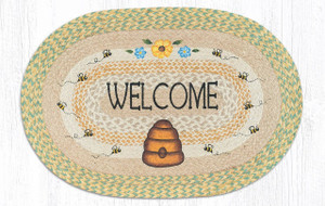 """Welcome Buzzing Bee Hive Oval Hand Printed Braided Floor Earth Rug 20""""x30"""" - OP-566"""