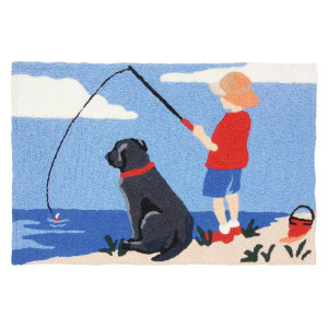 Fishing Buddy Dog Rug Indoor Outdoor Washable Rug JB-SE011