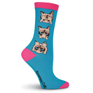 Women's Grumpy Cat Hear, Speak, See No Grumpy Turquoise Crew Socks - GCWF17H002