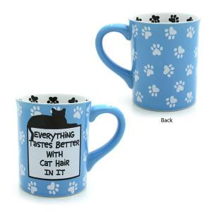 "Cat Theme Mug ""Everything Tastes Better with Cat Hair"" - 4026110"