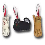 Cat Christmas Ornament Hand Stitched - Choice of 3 - 8601302
