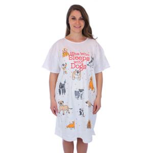 "Sleep Shirt Pajamas ""She who sleeps with dogs"" 00627T"