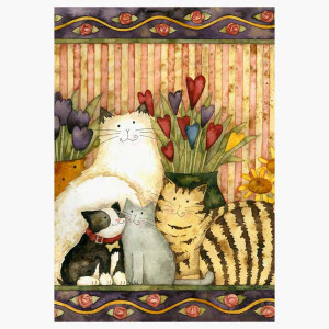 "Cat Garden Flag ""Cats in the Parlor"" - 0270FM"