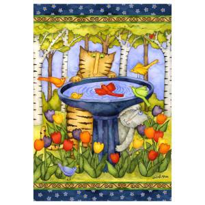 "Cat Garden Flag ""Birdbath"" - 0544FM"