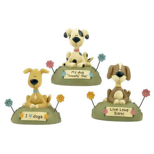 Three Lovable Dog Figurines Blossom Bucket 121-84056