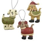 Three Candy Cane Dog Ornaments Blossom Bucket 138-51501