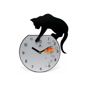 "Cat Wall Clock ""Fisher"" - 14090-3067"