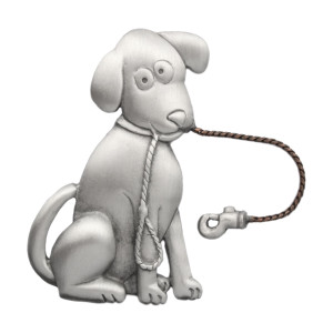 Dog Holding Leash Pewter Pin 2279PP