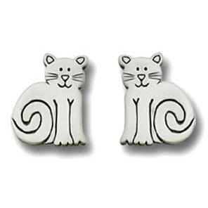 Cat Sitting Pewter Post Earrings 2541EP