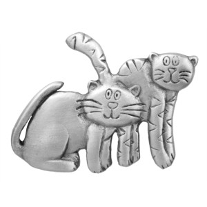 Cat Pin Two Cats Pewter Clutch Pin - 2924CP