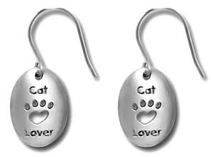 Cat Lover Pewter Drop Earrings 3500EFP