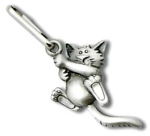 "Cat ""Hanging On"" Zipper Pull 3694ZP"
