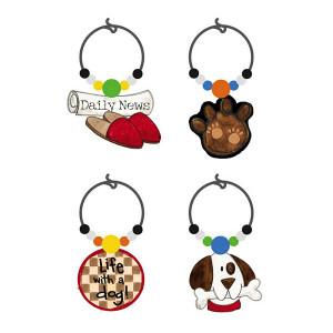 "Dog Theme Art-Glass Wine Glass Charms ""Life with Dog"" - 3WGC4183"