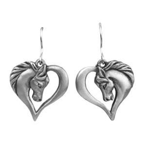Horse Head Heart Fishhook Pewter Earrings 6648EFP