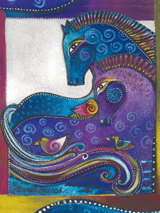 """Laurel Burch Card Blank - """"Aquatic Mares"""" - BKG13252"""