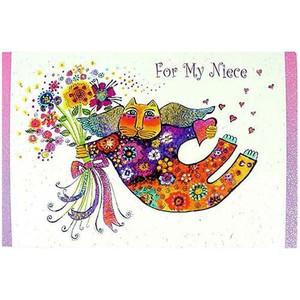 "Laurel Burch Card Happy Birthday Niece - ""Valentina"" Cat - BRT18322"
