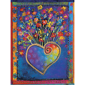"""Laurel Burch """"Blossoming Hearts"""" 8 Package Note Card BTN35936"""