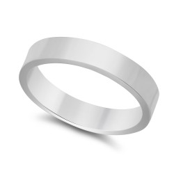 4mm 925 Sterling Silver Nickel-Free Flat Edged Wedding Band - Made in Italy