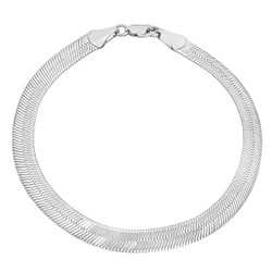 6.8mm Rhodium Plated Flat Herringbone Chain Bracelet