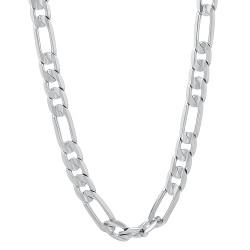 5.5mm Rhodium Plated Flat Figaro Chain Necklace