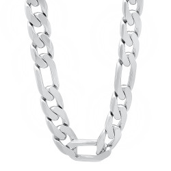 12mm Rhodium Plated Flat Figaro Chain Necklace