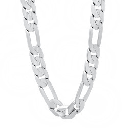 9.3mm Rhodium Plated Flat Figaro Chain Necklace