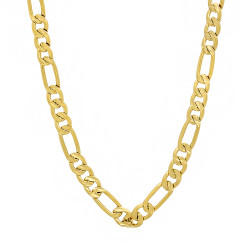 5.8mm Diamond-Cut 14k Yellow Gold Plated Flat Figaro Chain Necklace