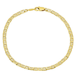 3.2mm Polished 0.25 mils (6 microns) 14k Yellow Gold Plated Flat Mariner Chain Necklace, 7'-36