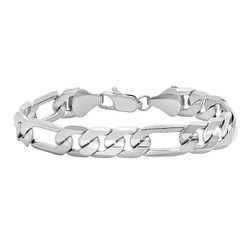 10mm Rhodium Plated Flat Figaro Chain Bracelet