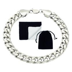9.3mm Rhodium Plated Flat Curb Chain Bracelet
