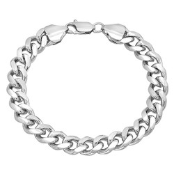 9.2mm High-Polished 0.25 mils (6 microns) Rhodium Plated Flat Beveled Curb Chain Necklace, 7'-30