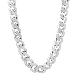 9.2mm Rhodium Plated Beveled Curb Chain Necklace
